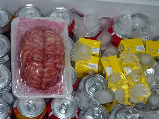 Halloween plastic wrapped brains in the drink cooler